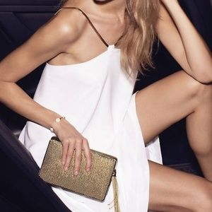 White Herringbone Chain Strap Hi-Lo  Dress